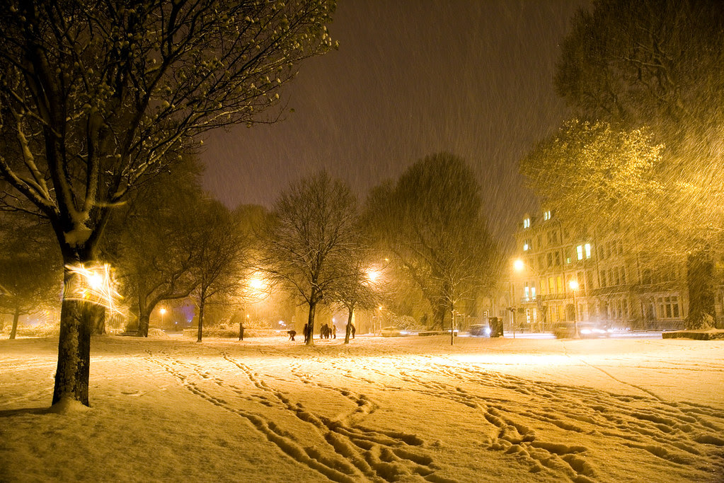 Victoria Gardens, Brighton in driving snow