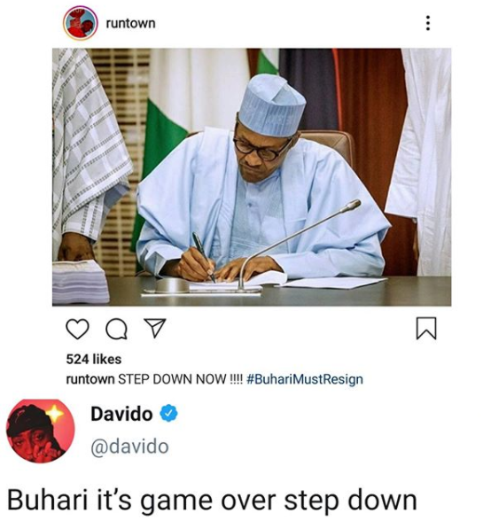 Davido and Runtown call on President Buhari to resign following the gun attack on #EndSARS protesters in Lekki