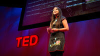 Artist Candy Chang on the TED stage.