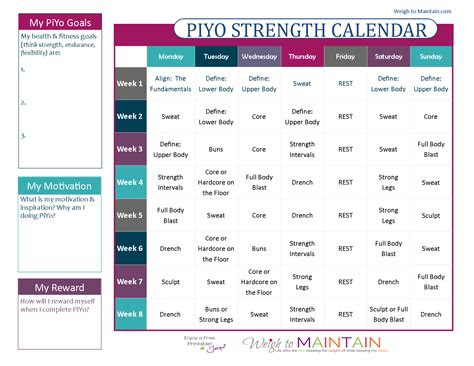 printable piyo calendar  workout schedule lifestyle