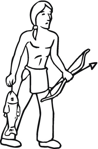Dibujo De Nativo Con Su Botin De Pesca Para Colorear Dibujos Para