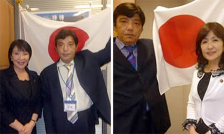 Pictures from Japanese neo-Nazi Kazunari Yamada's website show him posing with Shinzo Abe allies