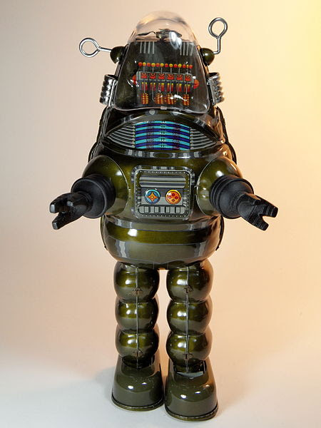 File:Billiken Shokai Tin Wind Up Robby the Robot with Disintegrator Ray Gun Olive Green Version Front.jpg