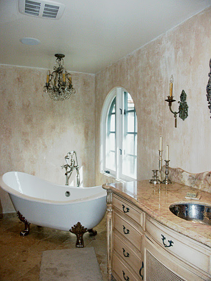 Master Bathroom Addition-French/Faux Finishes/Crystal Chandelier