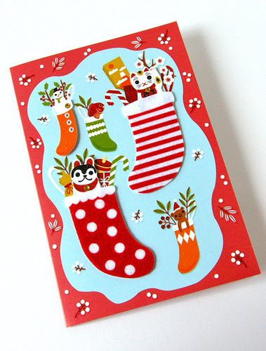 Holiday Greeting Card (Japanese christmas stockings) by hine