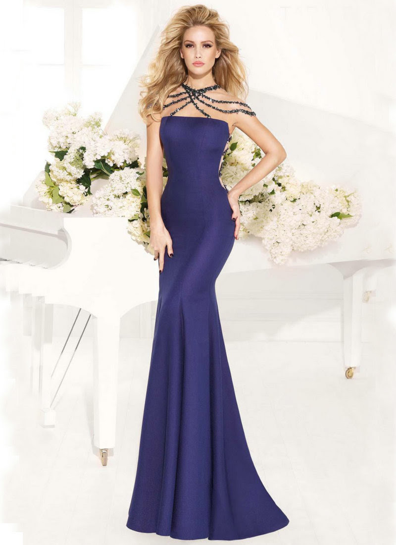 Evening dresses with rhinestones