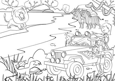 jungle safari coloring pages   print