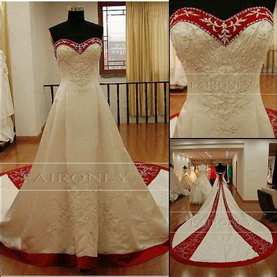 New Custom Wedding Dress Satin Bridal Prom Gown Embroidery