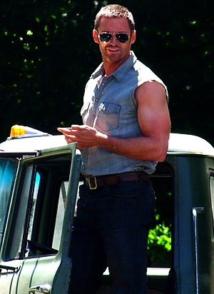 Hugh Jackman on the set of Real Steel in July ...