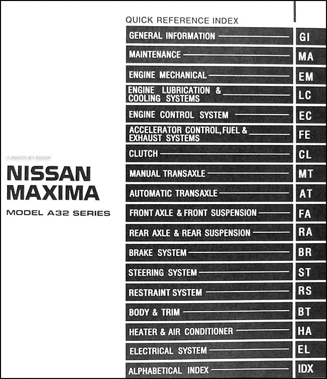 1998 Nissan Maxima Repair Shop Manual Original