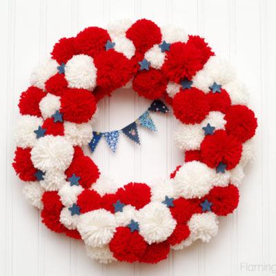 Patriotic Pom Pom Wreath