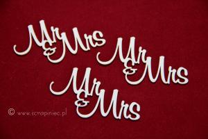 Mr & Mrs napis 3 szt.
