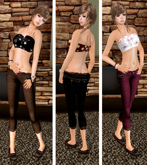 NEW! Lacy Cropped Jeans and Patterned Tube Tops by DYN Clothing