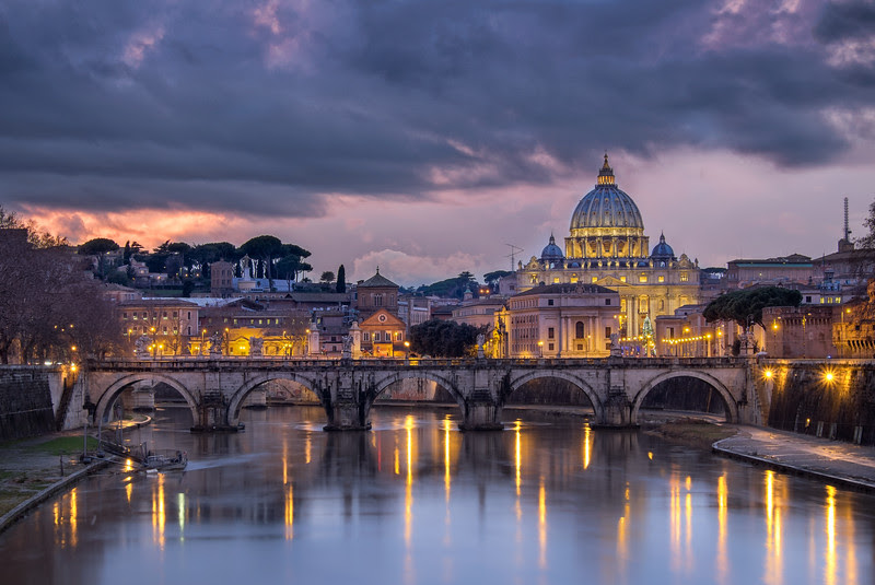 Dark clouds over Saint Peter's Basilica (Rome/Vatican)