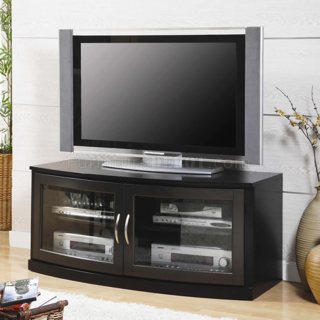 Black Finish Modern TV Stand w/Two Glass Doors