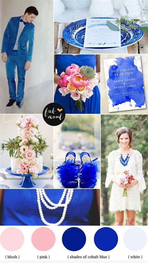 Cobalt blue and pink wedding   Summer wedding colors