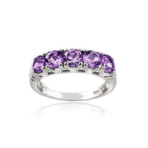 925 Sterling Silver 1.25 Ct Amethyst Half Eternity Band