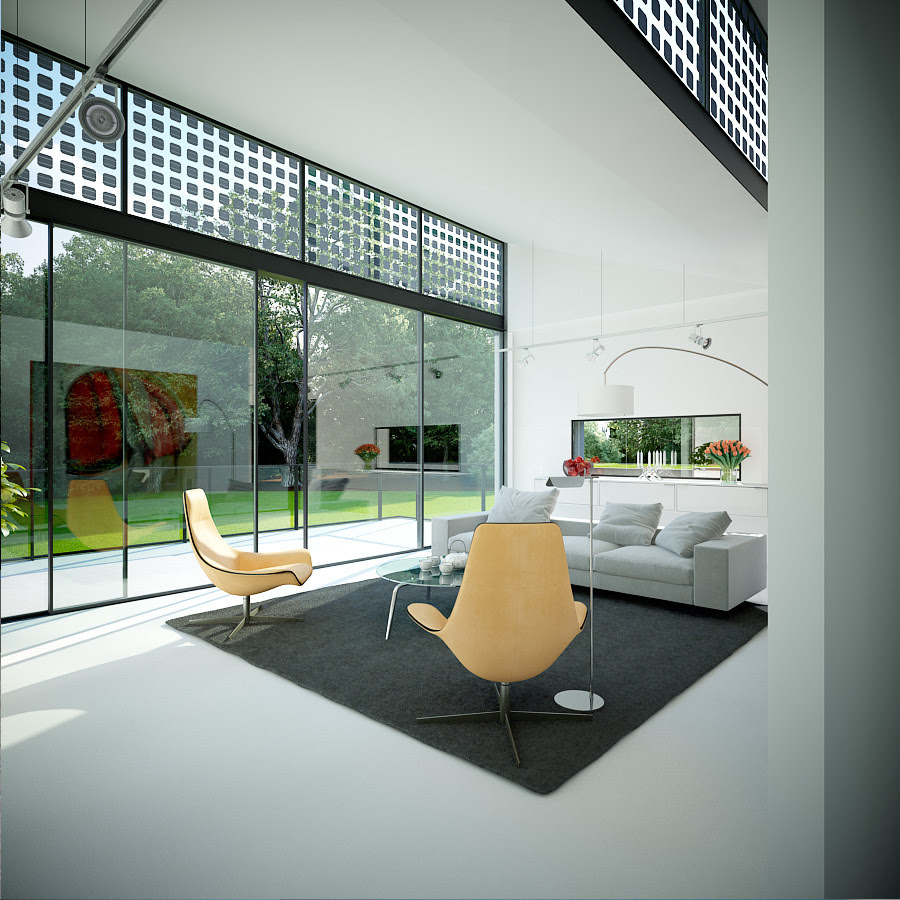 living room floor to ceiling glass wondows | Interior