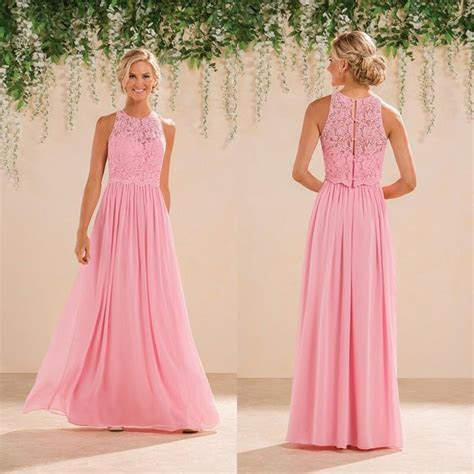 Jasmine 2016 Modest Peach Pink Lace Chiffon Long
