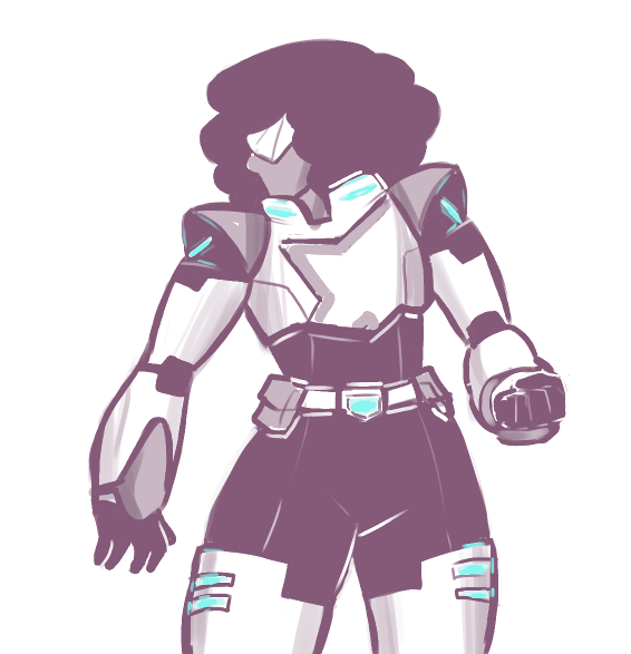on this strange day I find myself drawing Garnet as a paladin of Voltron because reasons