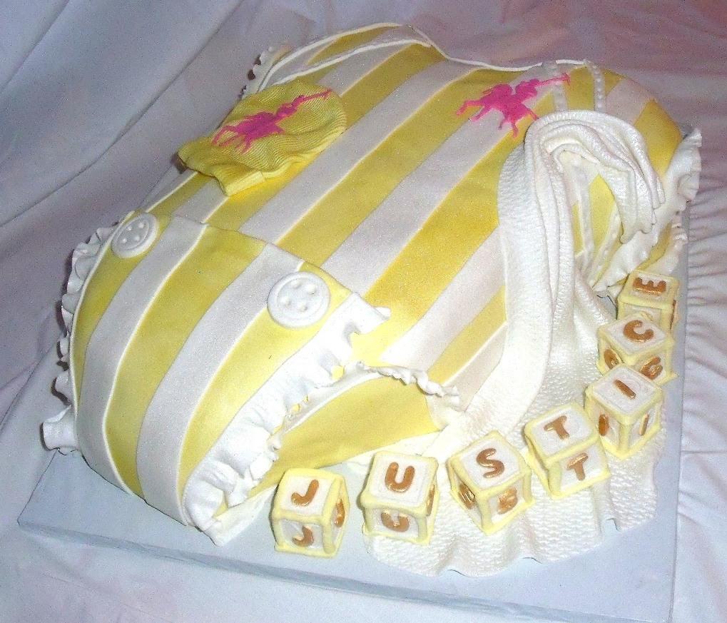 Baby Onesie Yellow White Polo Baby Shower Fondant Cake View 2
