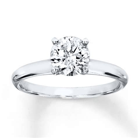 Diamond Solitaire Ring 1 Carat Round cut 14K White Gold