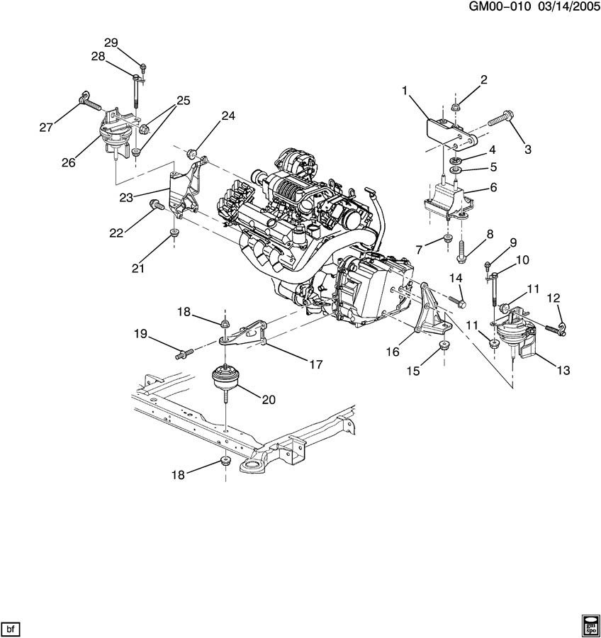Diagram Of 2001 Saturn Sl2 Engine Mount
