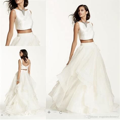 Cheap Elegant Wedding Dresses Two Piece Mikado Crop Top