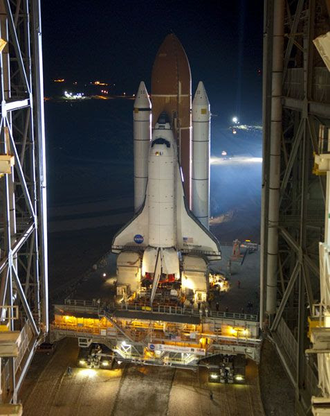 Space shuttle Endeavour rolls out of the Vehicle Assembly Building at Kennedy Space Center in Florida on March 10, 2011.
