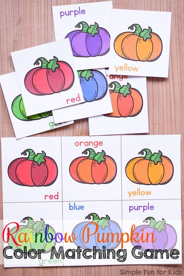 FREE Pumpkin Color Matching Printable   Free Homeschool ...