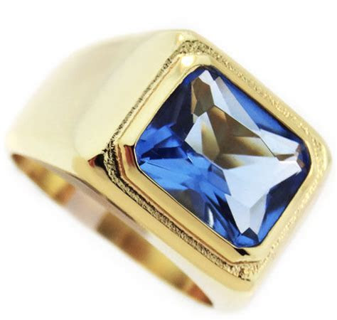 Mens Solitaire Light Sapphire Blue Stone 18kt Gold Plated