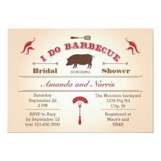 "I Do BBQ Bridal Shower Invitation 5"" X 7"" Invitation Card"