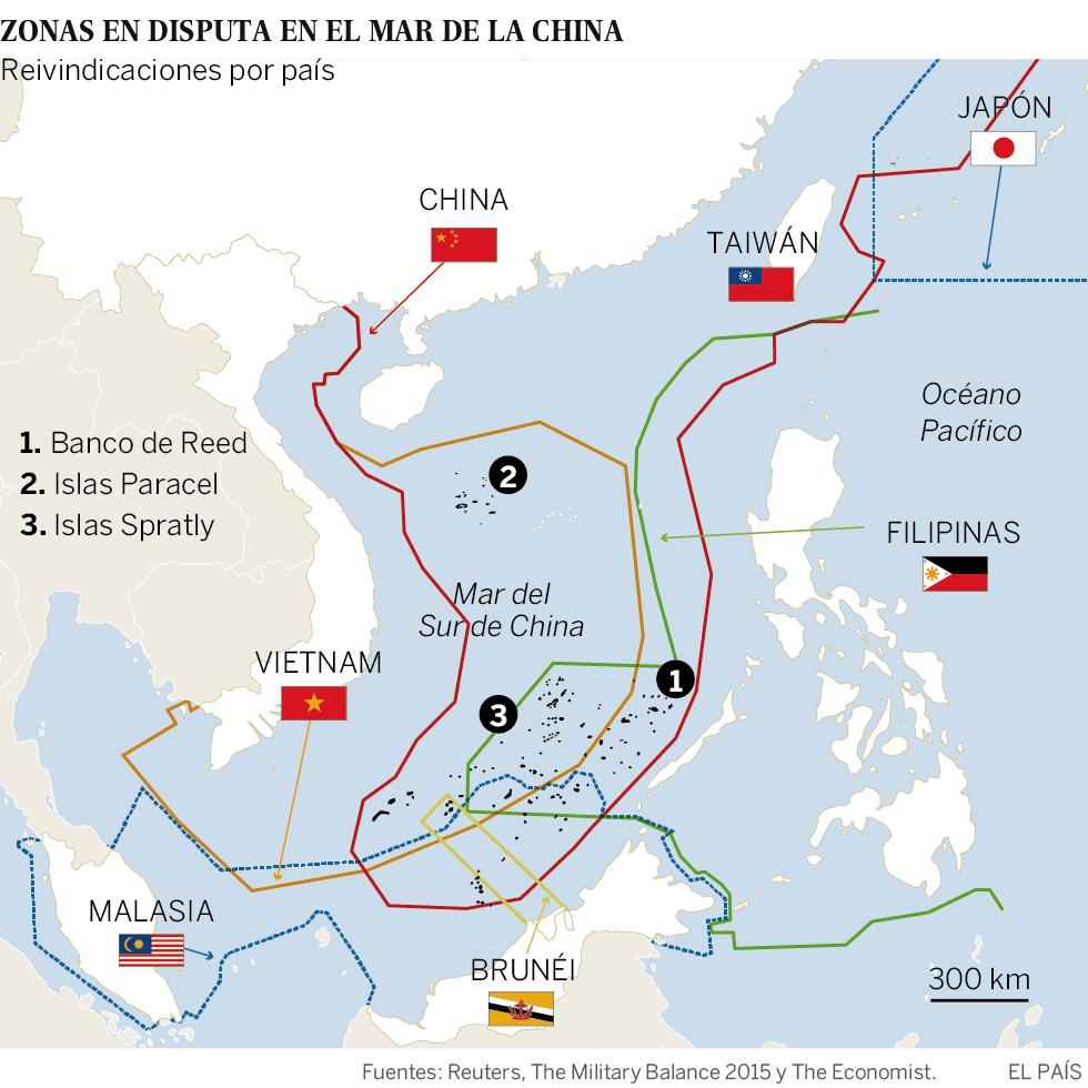 Resultado de imagen para DISPUTA DEL MAR DE LA CHINA