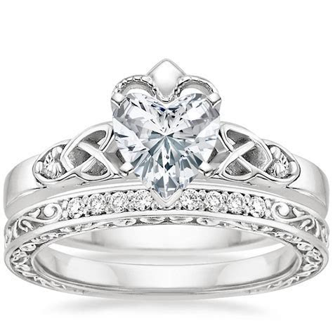 18K White Gold Celtic Claddagh Diamond Ring with Delicate