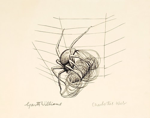simple ink sketch of spider on web wrapping parcel in silk