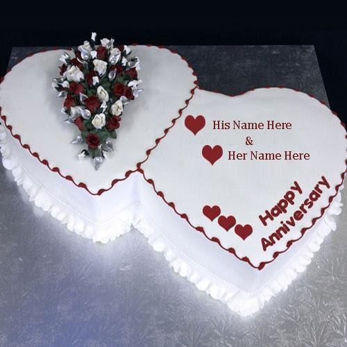 Heart Shape Anniversary Cake Wishes Image With Name Editing