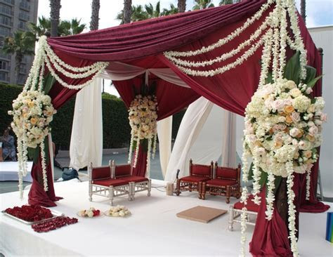 Burgundy and cream mandap decor.   Ceremony Decor   Indian