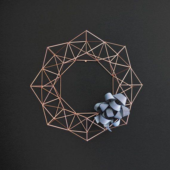 Large Copper Himmeli Wreath / Modern Geometric Wall by HRUSKAA, $235.00