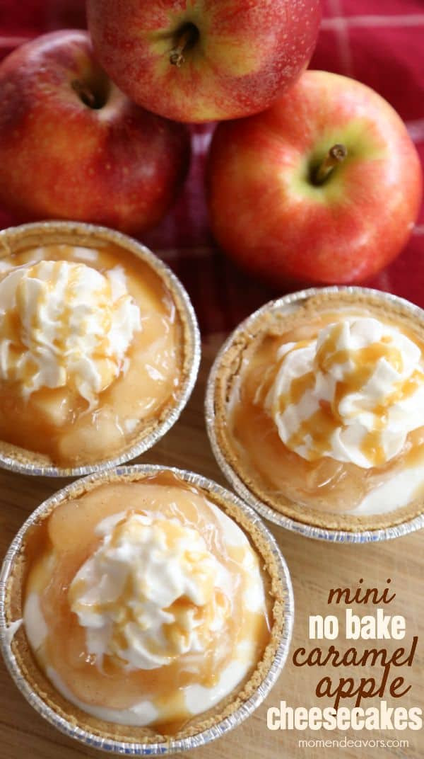 mini-no-bake-caramel-apple-cheesecakes