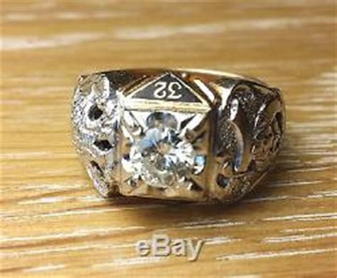awesome mens vintage  gold ct diamond masonic