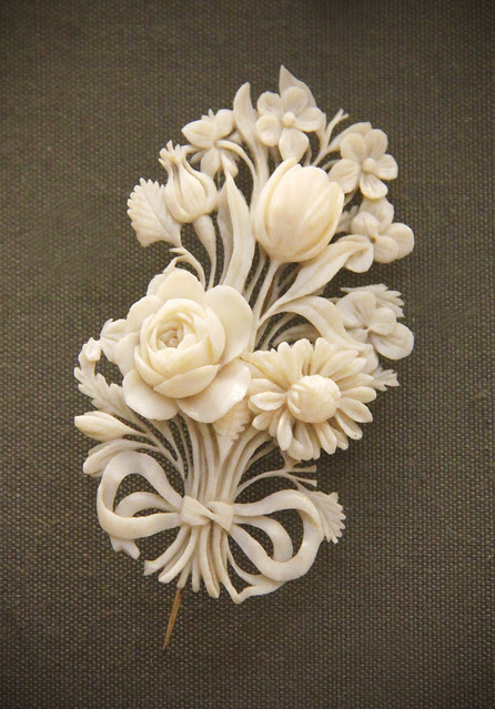 Bow-tied flower bouquetes, probably French, Dieppe, about 1840-50