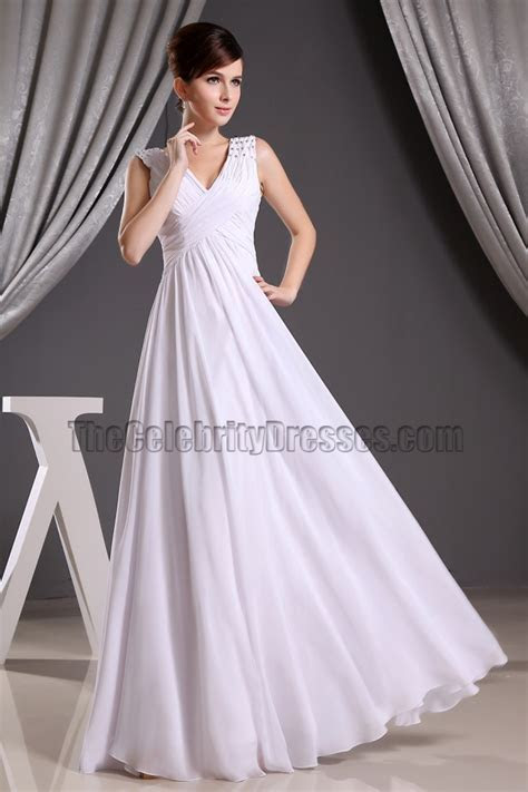 Discount White Chiffon V neck Prom Gown Evening Dresses