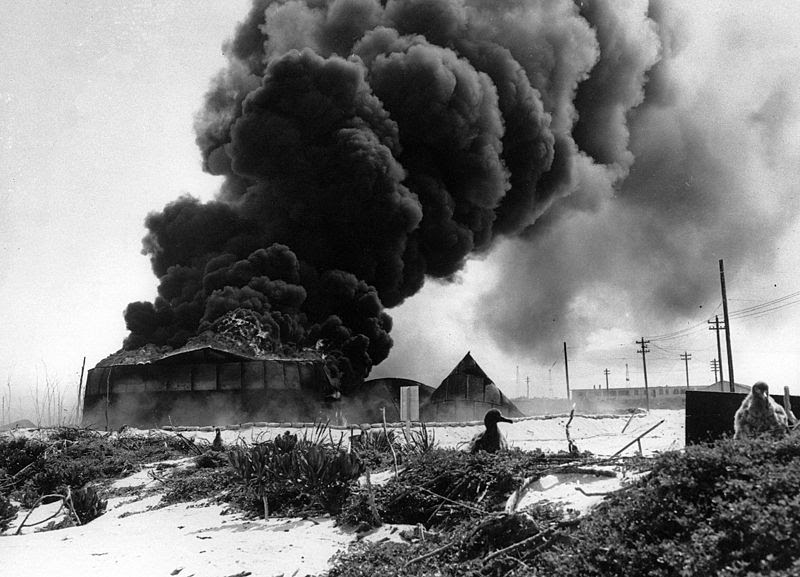 File:G17056 Oil tanks burn at Midway after japanese attack 4 june 1942.jpg