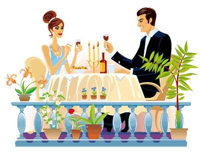 セレブなカップルディナーのイラストaieps ベクタークラブ