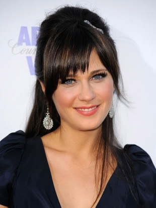 Half Updo with Bangs