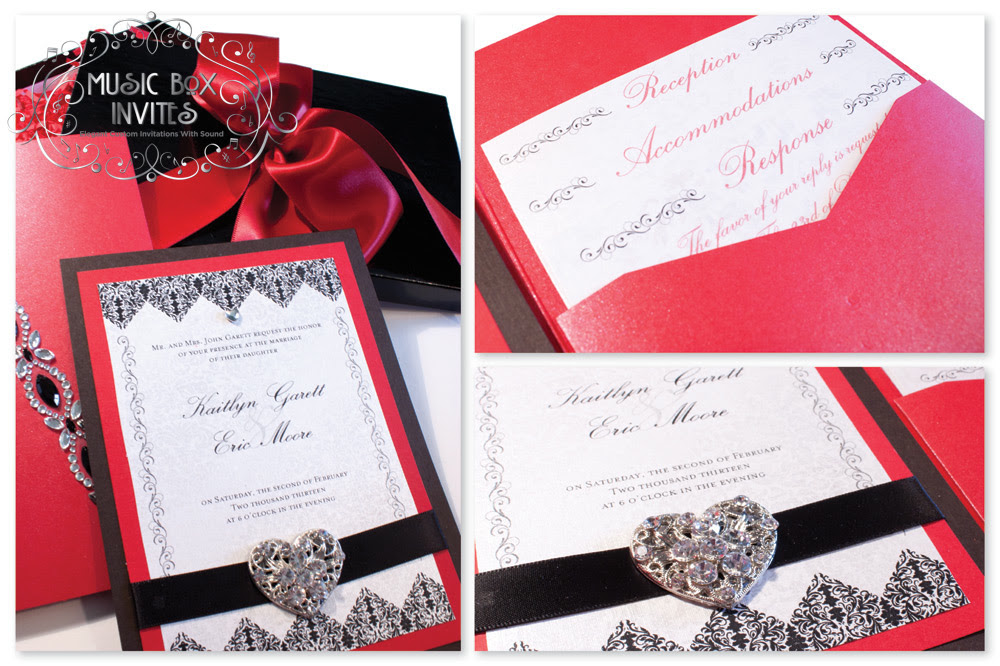 Cool wedding invitations for the ceremony: Elegant black and red ...