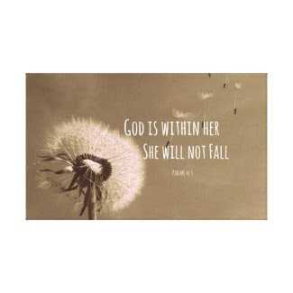 Bible Verse: God is within her, she will not fall Canvas Print