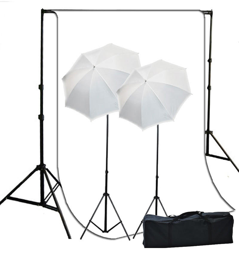 Video Photography Studio Lighting White Muslin Background System ...