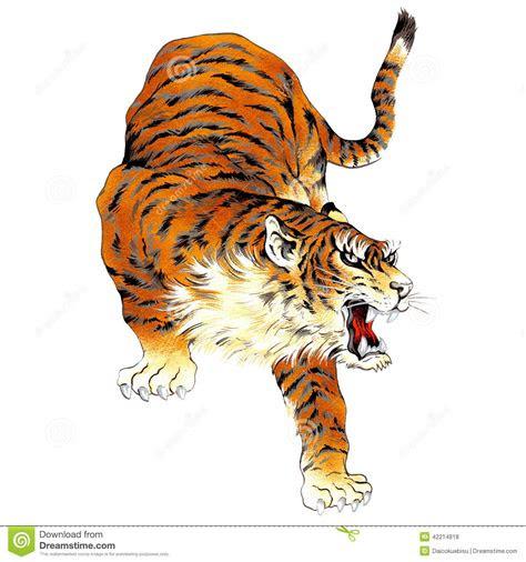 japanese tiger stock illustration image