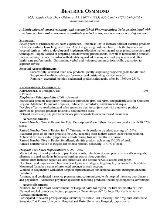 Resume For Pharmaceutical Companies